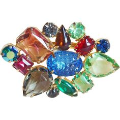 Color Glass  Rhinestone Vintage Estate Pin Brooch This gorgeous vintage brooch is done in a gold colored metal and prong set with beautiful faceted