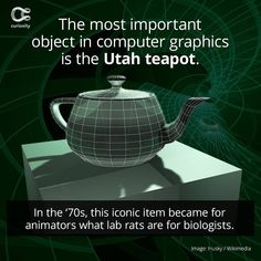 The Most Important Object in Computer Graphics Is the Utah Teapot – Collage Fashion 2019 3d Computer Graphics, Discovery Channel Shows, Utah, Tea Pots, Graphic Design, Cyborgs, Curiosity, Collage, Animation
