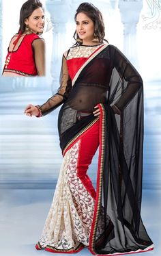 Picture of Fashion Black, White and Red Color Marvelous Saree