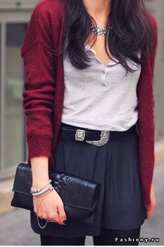autumn colours, deep colour of the cardigan looks beautiful with grey