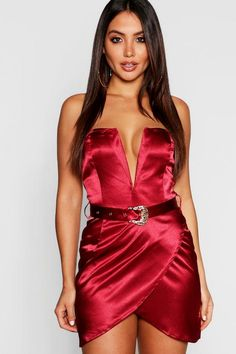 0f6193c12f Satin Belted Plunge Bodycon Dress - boohoo