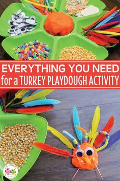 Use this idea list to create a turkey invitation to play.  So much better than a turkey handprint,  your kids will love this open-ended turkey play dough activity. This activity is perfect for your Thanksgiving theme unit and lesson plans in your preschool and pre-k classroom.  Add number cards to create a sensory math activity.  It's exciting to see the art that kids create.  #preschool #prek #thanksgivingactivities #playdough #turkeyactivities #turkeytheme
