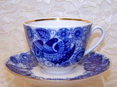 "Lomonosov Fine Collectible Porcelain ""Cobalt Lace"" Tea Cup and Saucer"