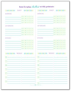 Use these blank weekly home keeping checklist pirntables with the home keeping checklist. Print these out and either fold or cut in half and you'll have a fresh checklist for each week.