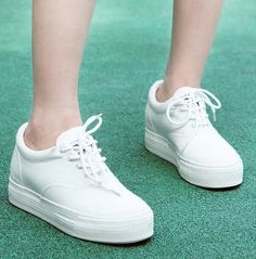 Womens White Platform Sneakers Lace Up Canvas Board Flat Shoes Ladies Creepers