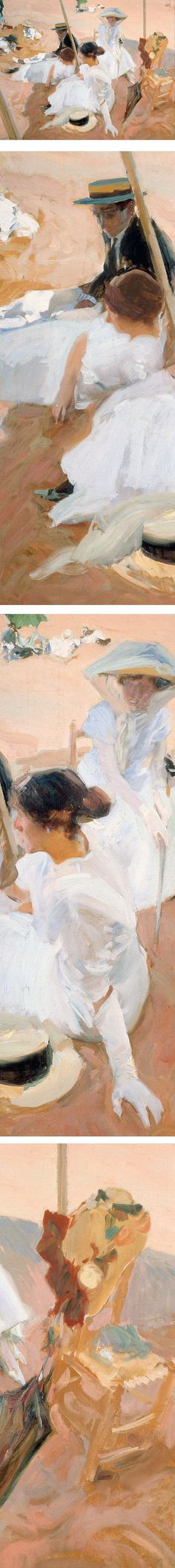 Under the awning, on the Beach at Zarauz, Joaquin Sorolla y Bastida