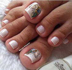 Pretty Toe Nails, Cute Toe Nails, Gel Nails, Nail Nail, French Pedicure, Pedicure Nail Art, Pedicure Designs, Toe Nail Designs, Star Nail Art