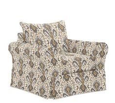 PB Comfort Roll Arm Grand Armchair Slipcover, Knife Edge, Ikat Geo Gray