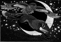 Colin See-Paynton ~ Nocturnal Encounters - Fox and Long Eared Owl ~ Wood Engraving, 15.5 x 18 cm