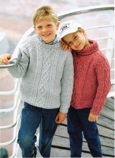 DK Sweaters - Sirdar Knitting Pattern 4069 - I Crochet World Boys Knitting Patterns Free, Jumper Knitting Pattern, Jumper Patterns, Knitting For Kids, Crochet Patterns, Boys Sweaters, Aran Sweaters, Aran Jumper, Baby Kind