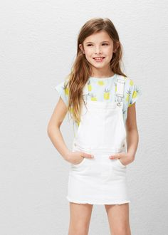 Robe chasuble denim blanc | MANGO KIDS