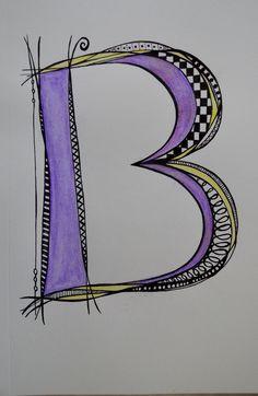 Letter B - sharpie/watercolor- SF