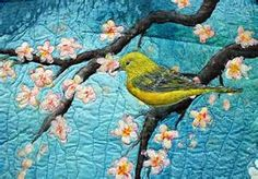 "Original art quilt hand painted silk ""Under the cherry Tree"" – Barbara Harms Fiber Art Bird Applique, Applique Quilts, Patchwork Quilting, Quilting Ideas, Bird Quilt, Tree Quilt, Thread Painting, Silk Painting, Fusion Art"