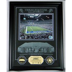 Texas Stadium Etched Glass 24KT Gold Coin Photo Mint