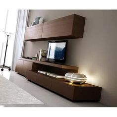 Muebles Modernos - Diseño Rack Lcd - $ 9.500,00 Home Room Design, House Design, Rack Industrial, Tv Wanddekor, Modern Tv Wall Units, Rack Tv, Living Room Tv Unit Designs, Muebles Living, Tv Wall Decor
