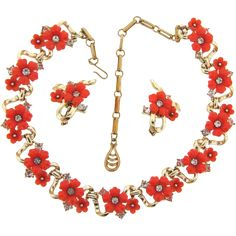 Signed Coro thermoset orange floral choker Necklace and clip on earrings with crystal rhinestones