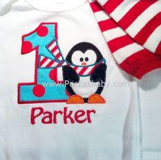 Personalized Winter Wonderland  Birthday Shirt with Penguin and Personalized Leg Warmers - Custom Birthday Penguin Shirt