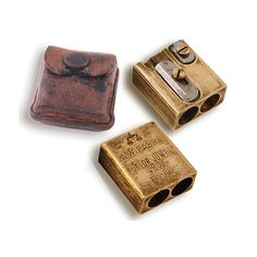 A.W. Faber, patented pencil sharpener Tutior Juwel with leather case, 1910s Germany