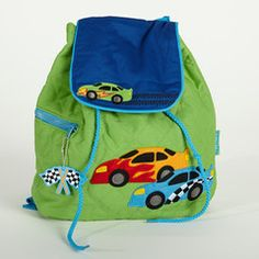 Green Race Car Quilted Backpack