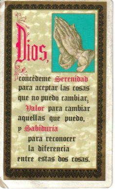 Dios concédeme serenidad, valor y sabiduría.