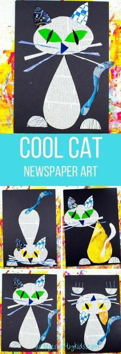 Arty Crafty Kids | Art | Cool Cat Newspaper Art for Kids | A fun recycled cat art project using recycled newspaper and magazines. With the help of a free template kids can make a cat that can strike multiple cool poses! by margret