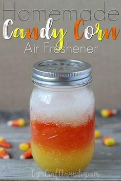 How to make your own car air freshener using natural essential oils. This DIY car air freshener for Halloween is scented like candy corn! Cinnamon Bark Essential Oil, Wild Orange Essential Oil, Natural Essential Oils, 4 Oz Mason Jars, Yellow Food Coloring, Homemade Cleaning Products, Car Air Freshener, Diy Halloween Decorations, Halloween Ideas