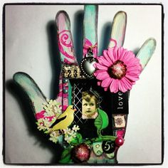 Hand Shrine  Created using:   -little girl collage sheet  -Ideology Number Rub-On's  -Flourish Stencil  -Wooden Hand Shrine  all by Retro Cafe ART Gallery art supplies!