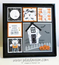 Halloween Sampler Frame with Stampin' Up! Cookie Cutter Halloween, Spooky Fun, Sweet Home , Halloween Night products from 2016 Stampin' Up! Holiday Catalog #stampinup www.juliedavison.com