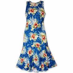 Hibiscus Isles Blue Lehua Hawaiian Dress  #madeinhawaii #hawaiian
