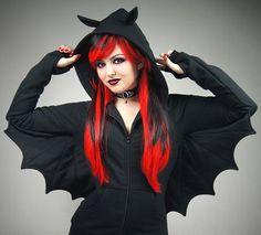 Bat black hoodie wings goth vampire ears animal by PaperCatsPL