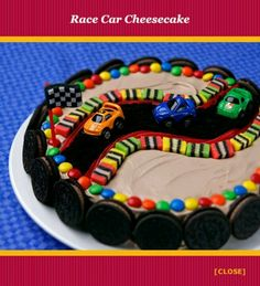 1 Cheesecake, defrosted 2 cups Chocolate Whipped Topping Red Pull-A-Part Licorice 1 Chocolate Cookie Pie Shell, crushed 19 Chocolate crème-filled cookies Candy Coated Chocolate Licorice Squares Party Favor Cars Party Favor Flag  Spread whipped topping on top and side of cheesecake. For the racetrack, place strips of licorice across the cake to outline a track. Place licorice squares along the licorice for a border. Sprinkle chocolate pie shell crumbs between licorice strips. Arrange candy…