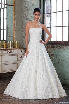 Justin Alexander Signature Spring 2016 Wedding Dresses | Wedding Inspirasi | Interesting & Unique Embellished Bridal Gown With Strapless, Straight Across Neckline, Full A-Line Skirt, & Cathedral Length Train××××