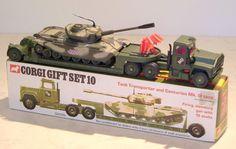 Corgi Toys - Tank Transporter and Centurion Mk. III Tank (Corgi Gift Set (w. Toy Tanks, Corgi Gifts, Corgi Toys, Hobby Toys, Metal Toys, Classic Toys, Toy Boxes, Old Toys, Toys For Boys