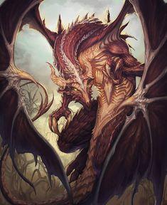 "Ddraig Goch""Red Dragon"" by artkingman @ deviantart High Fantasy, Fantasy World, Fantasy Art, Fantasy Beasts, White Dragon, Red Dragon, Dragon Egg, Magical Creatures, Fantasy Creatures"