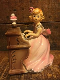 Adorable Vintage Music Box Girl Playing Piano Pink Gold Dress Figurine  | eBay