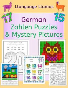 German Numbers Zahlen Puzzles and Mystery Pictures - Fun resources to practice German numbers to 20 - crosswords, word searches, missing letter and codebreaker puzzles plus 2 color by number mystery pictures.