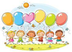 Дети с воздушными шарами — Stock Illustration #70936105