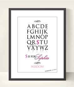 Custom Alphabet Print ABC Baby Girl Name Meaning, A3 Poster Nursery Art Print. Typography. Baby Girl Nursery room. Kids room.. $20.00, via Etsy.  I think it would be cute with a crown on the top above the alphabet.