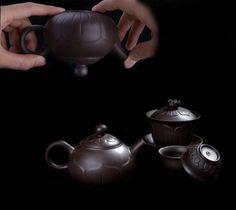 Chinese tea set zisha handmade gift teapot teacup gaiwan china lotus design 4pcs