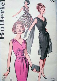 1960s SIZZLING Cocktail Evening Party Dress Pattern BUTTERICK 9690 Slim or Full Skirt Shoulder Drape Version Bust 32 Vintage Sewing Pattern