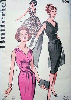 1960s SIZZLING Cocktail Evening Party Dress Pattern BUTTERICK 9690 Slim or Full Skirt Shoulder Drape Version Bust 32 Vintage Sewing Pattern