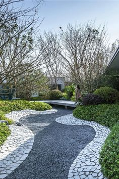 Landscape Elements, Landscape Architecture Design, Contemporary Landscape, Modern Landscaping, Front Yard Landscaping, Paving Design, Japan Landscape, Gravel Garden, Cool Landscapes