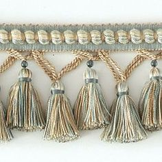 "DECORATIVE TRIM 3 1/4"" TASSEL FRINGE W/ GLASS BEAD AZU 287683"
