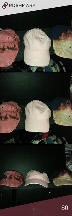 Dad Hat Bundle 1 for $15 or all 3 for #35  N w/o T  2 of the hats are Distress  2 of the hats are Bleached  1 of the hats is a Tie Back  Let me know Accessories Hats