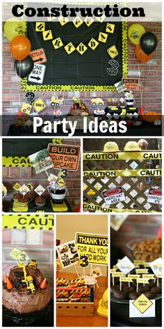 Some great party ideas at this construction themed boy birthday party! See more party ideas at CatchMyParty.com. #partiesforkids