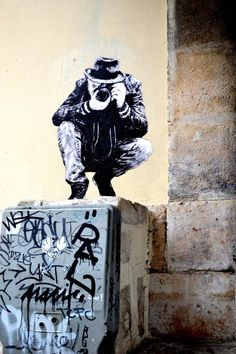 A selection of amazing street art creations by French artist Levalet who populates city walls of France with monochrome characters playing on the elements and u