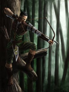 m Half Elf Rogue Thief Leather Armor Longbow Mixed Forest Tree trail ambush World Of Fantasy, High Fantasy, Fantasy Rpg, Medieval Fantasy, Dungeons And Dragons Characters, Dnd Characters, Fantasy Characters, Fantasy Character Design, Character Concept