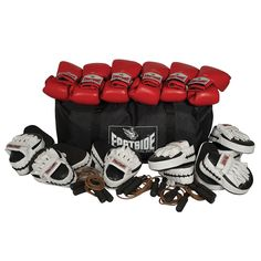 EASTSIDE BOXING PRO PLUS GROUP SET - Ideal boxing training set for groups and classes, contains 6 x Pro sparring gloves, 6 x pro curved hook and jab pads, 6 x weighted leather skipping ropes, 1 x huge kit bag. Boxing Training Routine, Boxing Training Program, Boxing Training Gloves, Sparring Gloves, Train Set, Most Beautiful Pictures, Numb, Boxers, Massage