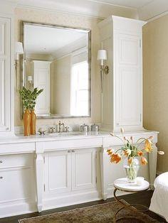 White Bathroom Storage Tower - Foter