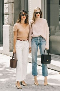 How to wear white denim in the fall with neutral toned accessories